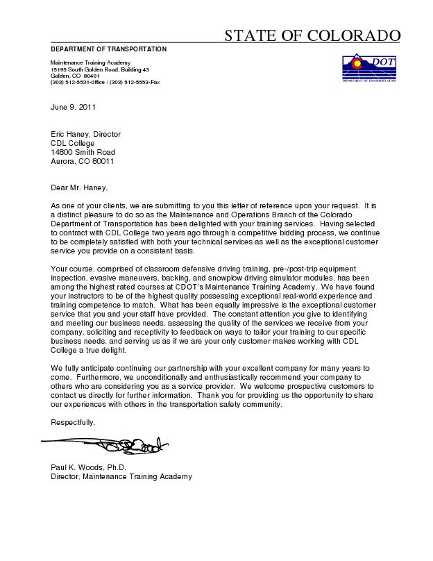 Co Dot Letter Of Reference Cdl College