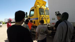 Instructor Mark Nahkunst demonstrates the Side and Back of Truck inspection.