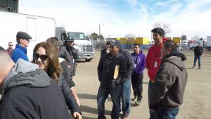 Instructor Alma Luna gathers students for Road Training.
